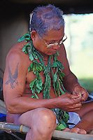 Mau Piailug, Master Navigator of the Hokulea sailing canoe, a replica canoe which Hawaiians use today to navigate throughout the Pacific by using a map of the stars and watching the winds.