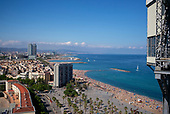 Barcelona, Spain<br /> Catalonia<br /> June 24, 2021<br /> <br /> View from the Port Vell Aerial Tramway, an aerial tramway that crosses Port Vell, Barcelona's old harbour, connecting the Montjuïc hill with the seaside suburb of Barceloneta.