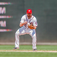 16 August 2017: Washington Nationals second baseman Daniel Murphy fields a grounder during a game against the Los Angeles Angels at Nationals Park in Washington, DC. The Angels defeated the Nationals 3-2 to split their 2-game series. Mandatory Credit: Ed Wolfstein Photo *** RAW (NEF) Image File Available ***