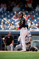 Nashville Sounds designated hitter Renato Nunez (34) at bat during a game against the New Orleans Baby Cakes on May 1, 2017 at First Tennessee Park in Nashville, Tennessee.  Nashville defeated New Orleans 6-4.  (Mike Janes/Four Seam Images)