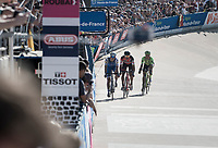 Zdenek Stybar (CZE/Quick Step Floors) pacing for a victory sprint against Greg Van Avermaet (BEL/BMC) & Sebastian Langeveld (NED/Cannondale-Drapac) with 1 lap to go in the legendary Roubaix velodrome<br /> <br /> 115th Paris-Roubaix 2017 (1.UWT)<br /> One Day Race: Compiègne › Roubaix (257km)