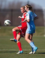 Julia Roberts, Kelly McFarlane, Kat Nigro. The Washington Spirit defeated the North Carolina Tar Heels in a preseason exhibition, 2-0, at the Maryland SoccerPlex in Boyds, MD.
