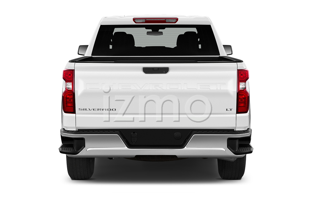 Straight rear view of 2020 Chevrolet Silverado-1500 LT 4 Door Pick-up Rear View  stock images
