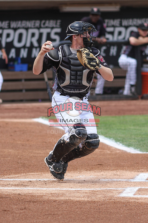 Wisconsin Timber Rattlers catcher Gregory McCall (21) throws down to second base during a Midwest League game against the Kane County Cougars on May 16th, 2015 at Fox Cities Stadium in Appleton, Wisconsin.  Kane County defeated Wisconsin 4-2.  (Brad Krause/Four Seam Images)
