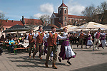Kaunas Lithuania folk traditional dancing in the Town Hall Square Old Town during the Spring market fair. 2017 2010s,