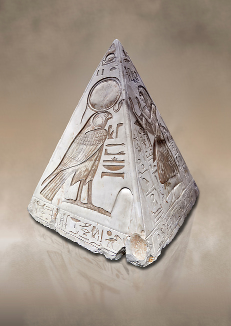"""Ancient Egyptian Pyramidion of Ramose North & East sides, Limestone, New Kingdom, 19th Dtnasty (1292-1190 BC), Dier el-Medina. Egyptian Museum, Turin. Old Fund cat 1603. <br /> <br /> The north face of the Ramose Pyramidion explains the attribute of Horus as the strong coronal electric field of the Sun gifting the Ankh as a support to Life. It reads """"Strong coronal electric field supporting the Sun, negative charge induction."""""""" Weak electric field is an attribute of the anode Sun.""""""""Electricity supporting life to core charge store God"""".<br /> <br /> The east face of the Ramose Pyramidion shows the support for the structured plasma, her hands are held up representing the electric force on the perpendicular face to the North South axis of Horus, the strong coronal electric field. It reads"""" Structured plasma watched, attribute supporting life projecting power (negative charge) to support charge store (celestial body) electrostatic resonance."""""""" Seek home structured plasma to land negative charge projection by God as lightning attribute support celestial body via connection giving movement and [light].""""<br /> <br /> The limestone Pyramidion of Ramose, from the top of the tomb of the 'Necropolis Scribe'. Scenes on all four sides depict the worship of the sun."""