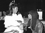 Rick James visits Mary Wilson backstage before her performance at the Red Parrot Disco on April 26, 1982 in New York City.