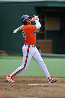 Redshirt freshman outfielder K.J. Bryant (10) (Wade Hampton High School) of the Clemson Tigers in a fall practice intra-squad Orange-Purple scrimmage on Sunday, September 27, 2015, at Doug Kingsmore Stadium in Clemson, South Carolina. (Tom Priddy/Four Seam Images)