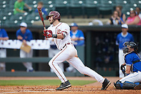 Dylan Busby (28) of the Florida State Seminoles follows through on his swing against the Duke Blue Devils in the first semifinal of the 2017 ACC Baseball Championship at Louisville Slugger Field on May 27, 2017 in Louisville, Kentucky. The Seminoles defeated the Blue Devils 5-1. (Brian Westerholt/Four Seam Images)