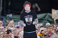 Pictured: A cut out held in the crowd for Ed Sheeran. Saturday 26 May 2018<br /> Re: BBC Radio 1 Biggest Weekend at Singleton Park in Swansea, Wales, UK.