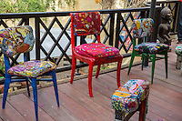 Colorful Artistic Furniture made by Artist Amadou Kane Sy, Biannual Arts Festival, Goree Island, Senegal.