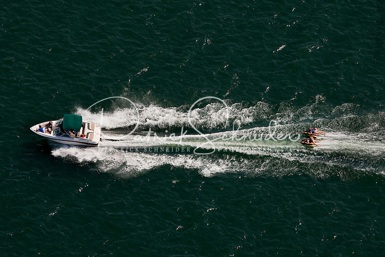 Aerial photo of a speed boat on Lake Norman in Mecklenburg County, NC, taken May 2008.
