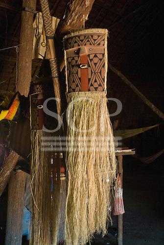 Xingu Indigenous Park, Mato Grosso State, Brazil. Aldeia Kamaiura. Artesanato - mask.