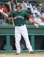 Outfielder Bryce Brentz (25) of the Greenville Drive, Class A affiliate of the Boston Red Sox, in a game against the Charleston RiverDogs on May 15, 2011, at Fluor Field at the West End in Greenville, S.C. Brentz was a Supplemental First Round pick of the Red Sox in the 2010 First-Year Player Draft. Photo by Tom Priddy / Four Seam Images