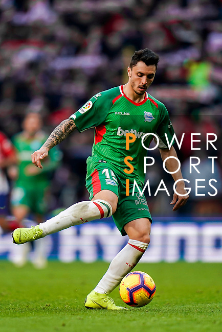 Joaqiun Navarro Jimenez, Ximo Navarro, of Deportivo Alaves in action during the La Liga 2018-19 match between Atletico de Madrid and Deportivo Alaves at Wanda Metropolitano on December 08 2018 in Madrid, Spain. Photo by Diego Souto / Power Sport Images