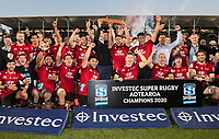 The Crusaders celebrate winning the 2020 Super Rugby Aotearoa title at Orangetheory Stadium in Christchurch, New Zealand on Saturday, 9 August 2020. Photo: Joe Johnson / lintottphoto.co.nz