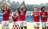 28th August 2021; Cardiff City Stadium, Cardiff, Wales;  EFL Championship football, Cardiff versus Bristol City; Antoine Semenyo of Bristol City applaud the travelling supporters with team mates