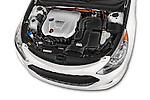 Car stock 2015 Hyundai Sonata  Hybrid 4 Door Sedan engine high angle detail view