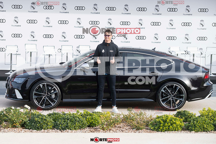 Cristiano Ronaldo of Real Madrid CF poses for a photograph after being presented with a new Audi car as part of an ongoing sponsorship deal with Real Madrid at their Ciudad Deportivo training grounds in Madrid, Spain. November 23, 2017. (ALTERPHOTOS/Borja B.Hojas) /NortePhoto.com NORTEPHOTOMEXICO