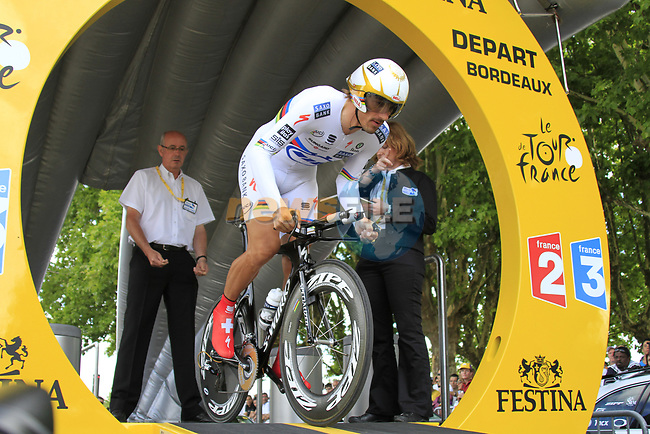 World and Olympic Champion Fabian Cancellara (SUI) Saxo Bank powers off the start ramp of Stage 19 of the 2010 Tour de France an individual time trial running 52km from Bordeaux to Pauillac, France. 24th July 2010.<br /> (Photo by Eoin Clarke/NEWSFILE).<br /> All photos usage must carry mandatory copyright credit (© NEWSFILE   Eoin Clarke)