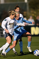 Notre Dame Fighting Irish defender Elise Weber (23) and North Carolina Tar Heels midfielder Allie Long (21). The North Carolina Tar Heels defeated the Notre Dame Fighting Irish 2-1 during the finals of the NCAA Women's College Cup at Wakemed Soccer Park in Cary, NC, on December 7, 2008. Photo by Howard C. Smith/isiphotos.com