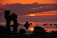 """SE - FÄRÖ Island<br /> Silhouette of the famous Raukar """"The Dog"""" in stunning red-golden sunset<br /> <br /> Full size: 66,6 MB"""