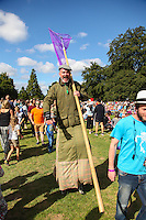 2016 09 18<br />Pictured: Performers as gamekeepers on stilts, The Great Pyjama Picnic, Bute Park, Cardiff.Sunday 18 September 2016<br />Re: Roald DahlÕs City of the Unexpected has transformed Cardiff City Centre into a landmark celebration of WalesÕ foremost storyteller, Roald Dahl, in the year which celebrates his centenary.