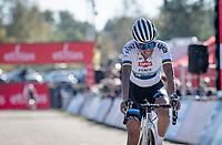 European Champion Ceylin Del Carmen Alvarado (NED/Alpecin - Fenix) crossing the finish line 3rd<br /> <br /> Elite Women's Race<br /> 2021 UCI cyclo-cross World Cup - Zonhoven (BEL)<br /> <br /> ©kramon