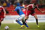 St Johnstone v Aberdeen.....07.12.13    SPFL<br /> Nigel Hasselbaink and Michale Hector<br /> Picture by Graeme Hart.<br /> Copyright Perthshire Picture Agency<br /> Tel: 01738 623350  Mobile: 07990 594431