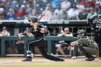 Louisville Cardinals catcher Henry Davis (32) follows through on his swing during Game 3 of the NCAA College World Series against the Vanderbilt Commodores on June 16, 2019 at TD Ameritrade Park in Omaha, Nebraska. Vanderbilt defeated Louisville 3-1. (Andrew Woolley/Four Seam Images)