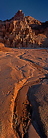 910000003 panoramic view of panaca formations and dry river bed at sunrise in cathedral gorge state park nevada
