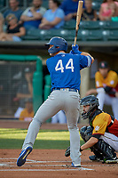 DJ Peters (44) of the Oklahoma City Dodgers at bat against the Salt Lake Bees at Smith's Ballpark on August 1, 2019 in Salt Lake City, Utah. The Bees defeated the Dodgers 14-4. (Stephen Smith/Four Seam Images)