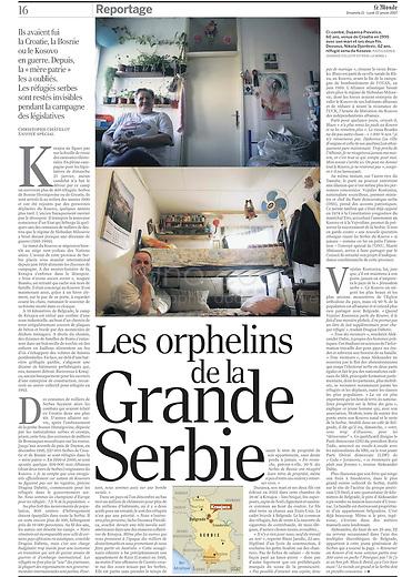 LE MONDE (main French daily newspaper)..2007/01/21.Serbian refugees..Photo: Djordje JOvanovic