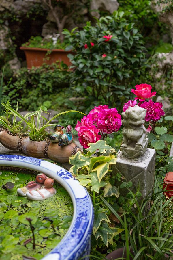 Yangzhou, Jiangsu, China.  Decorations in a Small Traditional Chinese Garden.