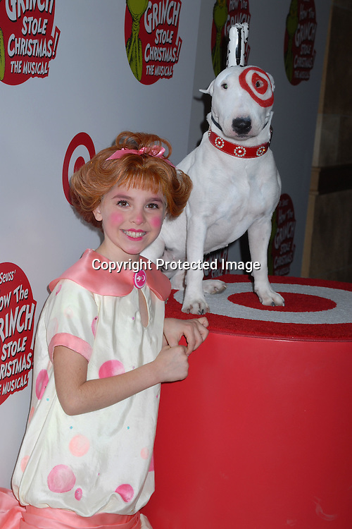 """Caroline London from the Cast with Bulls Eye ..ar the Broadway Opening of """"The Grinch Who Stole Christmas! The Musical"""" on November 8, 2006 at ..the Hilton Theatre in New York City. ..Robin Platzer, Twin Images.."""