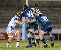12th February 2021; AJ Bell Stadium, Salford, Lancashire, England; English Premiership Rugby, Sale Sharks versus Bath; JP du Preez of Sale Sharks is tackled by Miles Reid of Bath Rugby