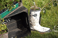 Pictured: A Wellington boot filled up with wild flowers Saturday 13 August 2016<br />