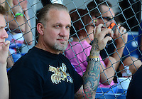 Sept. 23, 2012; Ennis, TX, USA: Television personality Jesse James watches NHRA eliminations during the Fall Nationals at the Texas Motorplex. Mandatory Credit: Mark J. Rebilas-US PRESSWIRE