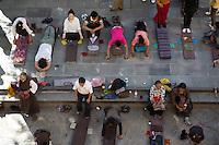 Pilgrims outside the Jokhang in Lhasa, Tibet