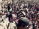Iraq 1984 .At the Headquarter of jalal Talabani, in the foreground, left, Mohammed Khademi of Fedayin  Khalk, during the speech given by Jalal Talabani      .Irak 1984.Au quartier general de Jelal Talabani, devant a gauche, Mohammed Khademi pendant le discours de Jelal Talabani