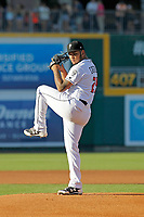 Lansing Lugnuts pitcher Maximo Castillo (25) delivers a pitch during a game against the Dayton Dragons at Cooley Law School Stadium on August 10, 2018 in Lansing, Michigan. Lansing defeated Dayton 11-4.  (Robert Gurganus/Four Seam Images)