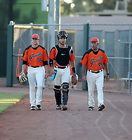 Joey Bart plays in his first professional game for the AZL Giants against the AZL Athletics at Indian Bend Park and June 24, 2018 in Scottsdale, Arizona. Bart is seen in this photo with starting pitcher Seth Corry (left) and Mike Couchee (right) (Bill Mitchell)