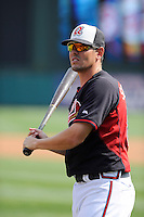 Catcher Braeden Schlehuber (82) of the Atlanta Braves before a Spring Training game against the New York Yankees on Wednesday, March 18, 2015, at Champion Stadium at the ESPN Wide World of Sports Complex in Lake Buena Vista, Florida. The Yankees won, 12-5. (Tom Priddy/Four Seam Images)