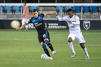 SAN JOSE, CA - NOVEMBER 04: Luis Felipe #96 of the San Jose Earthquakes battles for the ball with Jose Cifuentes #11 of the Los Angeles FC during a game between Los Angeles FC and San Jose Earthquakes at Earthquakes Stadium on November 04, 2020 in San Jose, California.