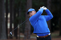 PINEHURST, NC - MARCH 02: Jimmy Zheng of Duke University tees off on the second hole at Pinehurst No. 2 on March 02, 2021 in Pinehurst, North Carolina.