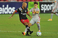 WASHINGTON, DC - SEPTEMBER 12: Federico Higuain #2 of D.C. United battles for the ball with Ben Mines #17 of New York Red Bulls during a game between New York Red Bulls and D.C. United at Audi Field on September 12, 2020 in Washington, DC.