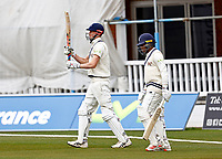 Zak Crawley (L) and Daniel Bell-Drummond of Kent take to the field during Kent CCC vs Lancashire CCC, LV Insurance County Championship Group 3 Cricket at The Spitfire Ground on 25th April 2021