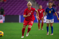 ORLANDO, FL - FEBRUARY 24: Sophie Schmidt #13 of the CANWNT runs toward the ball during a game between Brazil and Canada at Exploria Stadium on February 24, 2021 in Orlando, Florida.