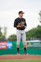 West Virginia Black Bears relief pitcher Michael LoPresti (43) looks in for the sign during a game against the Batavia Muckdogs on June 19, 2018 at Dwyer Stadium in Batavia, New York.  West Virginia defeated Batavia 7-6.  (Mike Janes/Four Seam Images)