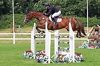 5th September 2021; Bicton Park, East Budleigh Salterton, Budleigh Salterton, United Kingdom: Bicton CCI 5* Equestrian Event; Gemma Tattersall riding Chilli Knight on her way to winning showjump round